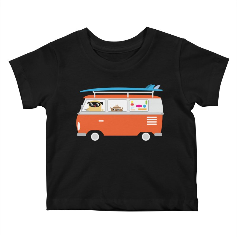 Pug & Poo Surfs Up Kids Baby T-Shirt by Rick Hill Studio's Artist Shop