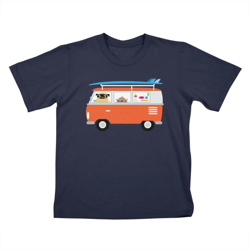 Pug & Poo Surfs Up Kids T-shirt by Rick Hill Studio's Artist Shop