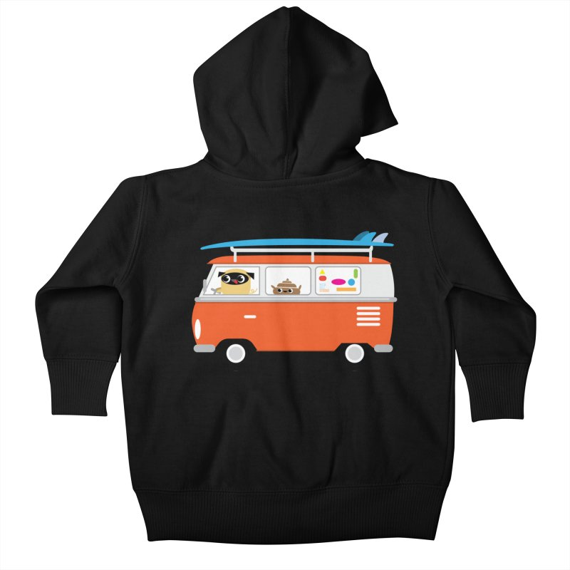 Pug & Poo Surfs Up Kids Baby Zip-Up Hoody by Rick Hill Studio's Artist Shop