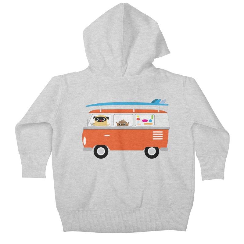 Pug & Poo Surfs Up Kids Baby Zip-Up Hoody by Rick Hill Studio's Artist Shop