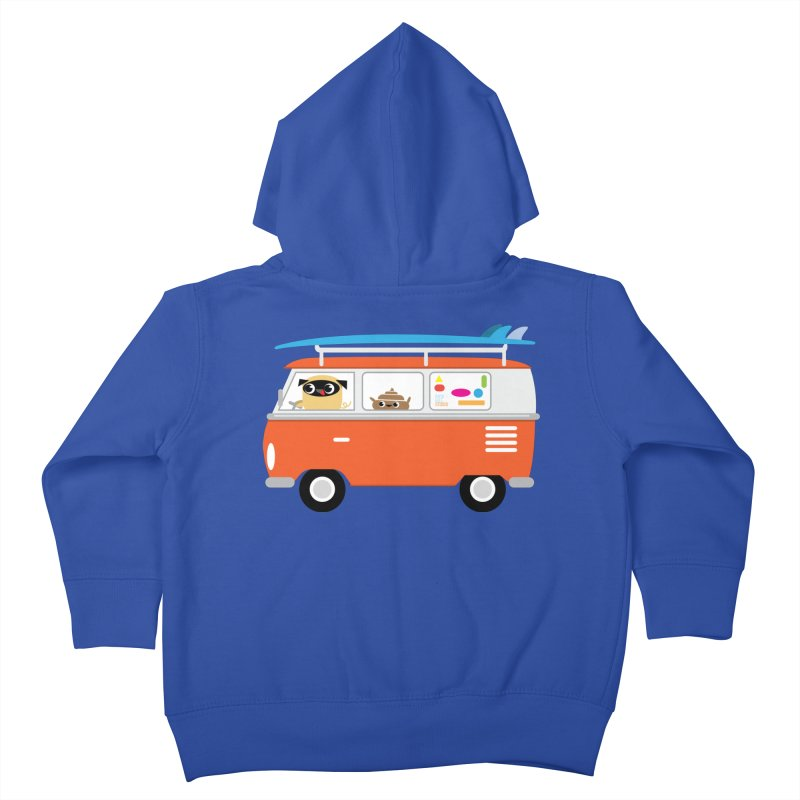 Pug & Poo Surfs Up Kids Toddler Zip-Up Hoody by Rick Hill Studio's Artist Shop