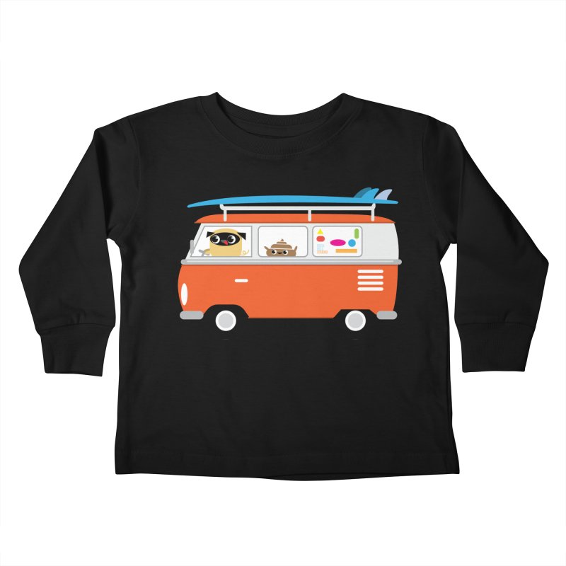 Pug & Poo Surfs Up Kids Toddler Longsleeve T-Shirt by Rick Hill Studio's Artist Shop