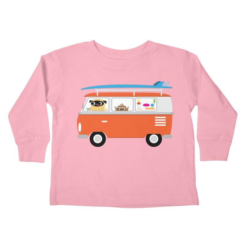 Pug & Poo Surfs Up Kids Toddler Longsleeve T-Shirt by Rick Hill Studio's Artist Shop