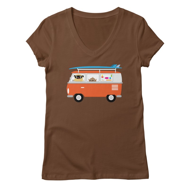 Pug & Poo Surfs Up Women's V-Neck by Rick Hill Studio's Artist Shop