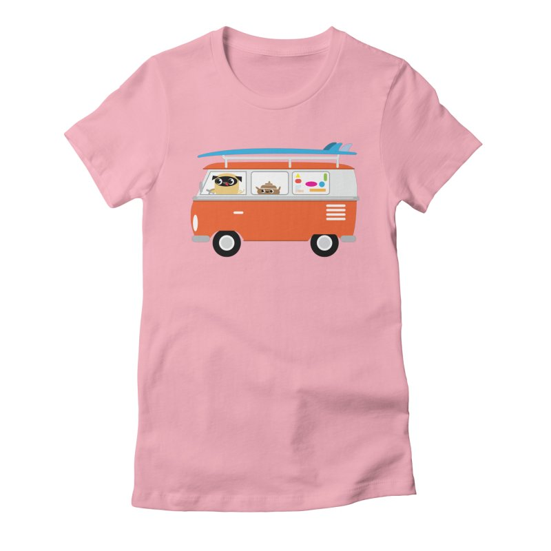 Pug & Poo Surfs Up Women's Fitted T-Shirt by Rick Hill Studio's Artist Shop