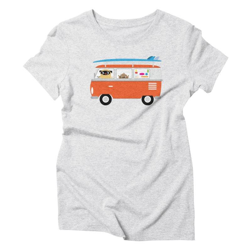 Pug & Poo Surfs Up Women's Triblend T-Shirt by Rick Hill Studio's Artist Shop
