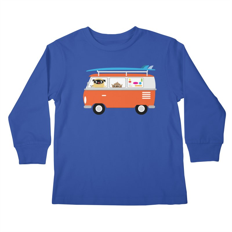 Pug & Poo Surfs Up Kids Longsleeve T-Shirt by Rick Hill Studio's Artist Shop