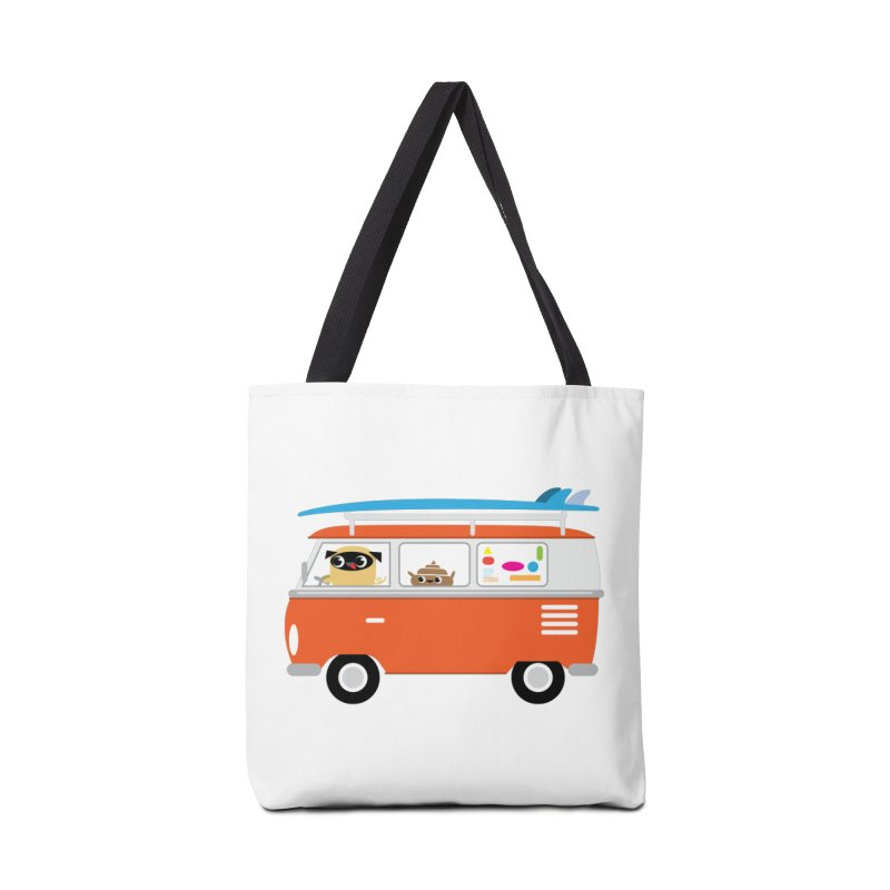 Pug & Poo Surfs Up Accessories Tote Bag Bag by Rick Hill Studio's Artist Shop