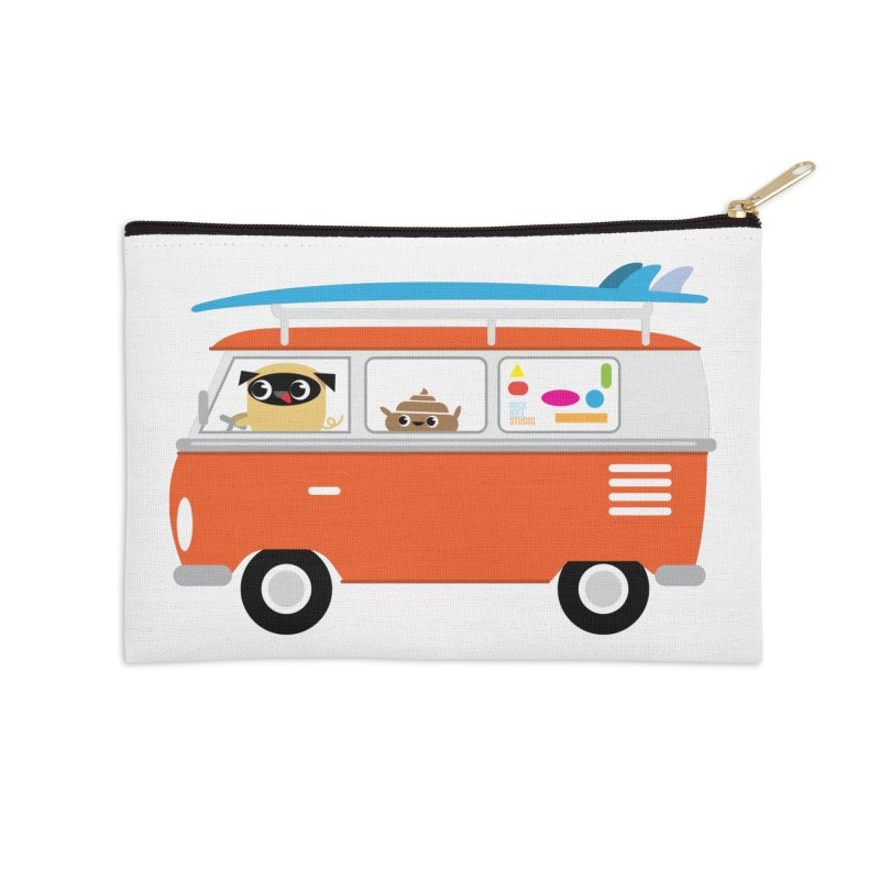 Pug & Poo Surfs Up Accessories Zip Pouch by Rick Hill Studio's Artist Shop