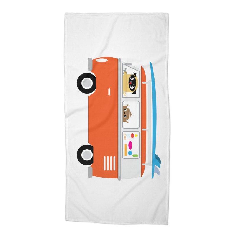 Pug & Poo VW Bus Accessories Beach Towel by Rick Hill Studio's Artist Shop