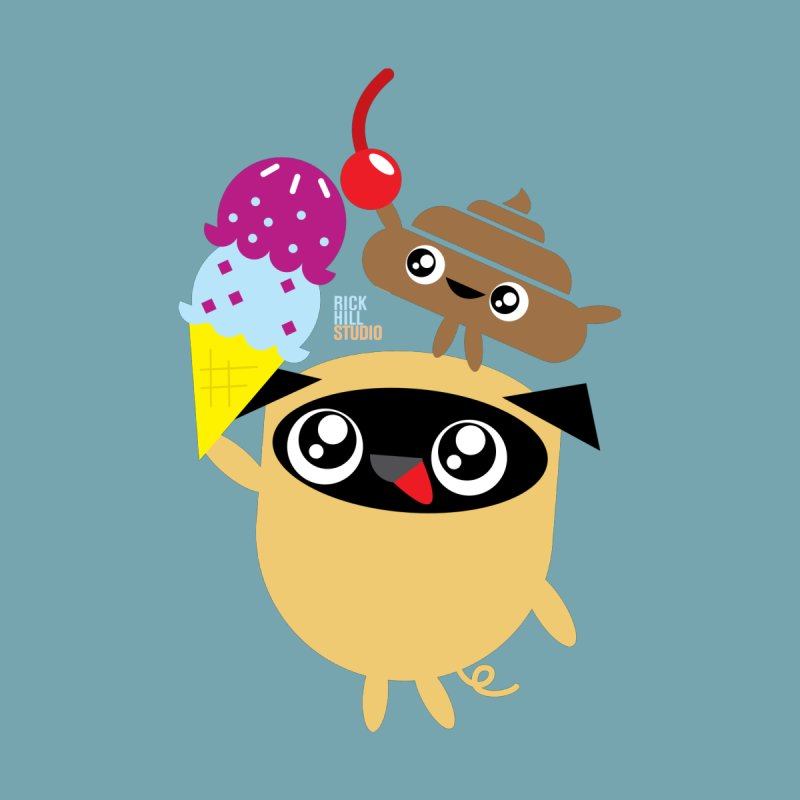 Pug & Poo Ice Cream Dream by Rick Hill Studio's Artist Shop