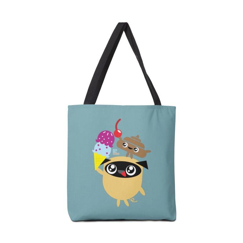 Pug & Poo Ice Cream Dream Accessories Tote Bag Bag by Rick Hill Studio's Artist Shop