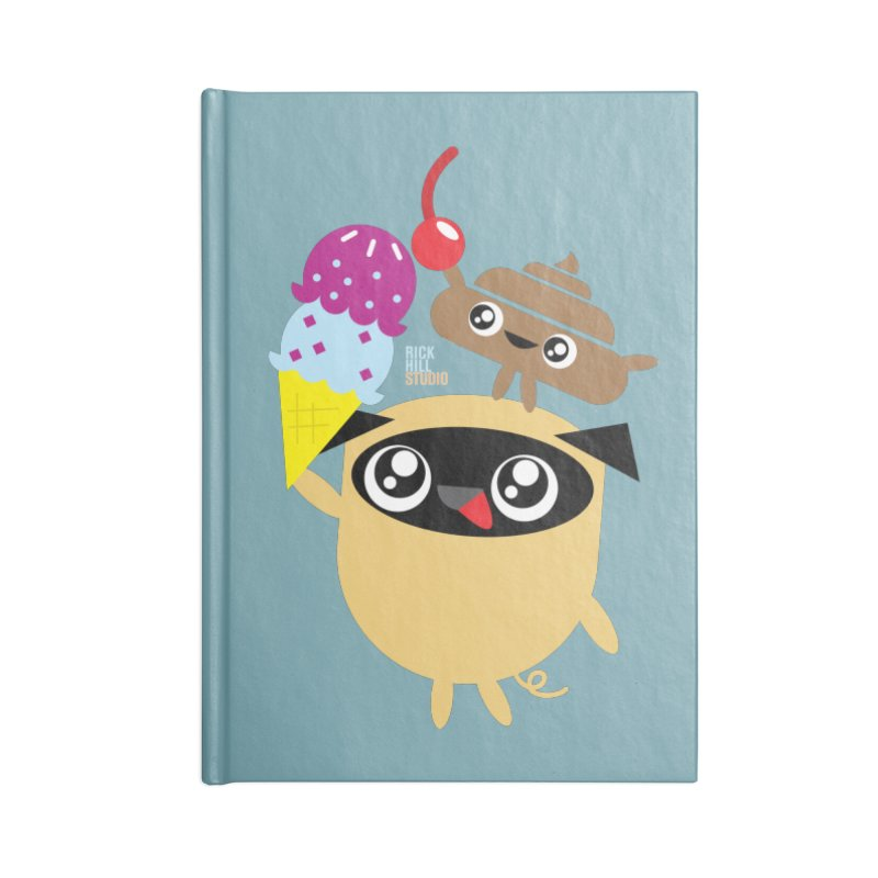 Pug & Poo Ice Cream Dream Accessories Notebook by Rick Hill Studio's Artist Shop
