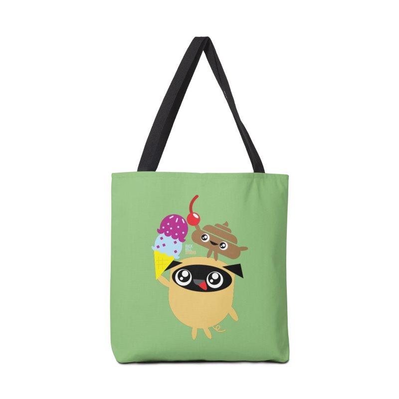 Pug & Poo Ice Cream Dreamin' Accessories Tote Bag Bag by Rick Hill Studio's Artist Shop