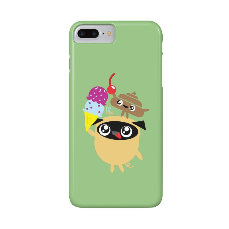 Pug & Poo Ice Cream Dreamin' Accessories Phone Case by Rick Hill Studio's Artist Shop