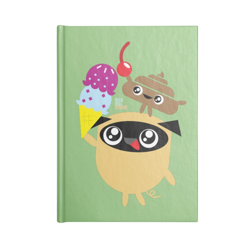 Pug & Poo Ice Cream Dreamin' Accessories Notebook by Rick Hill Studio's Artist Shop