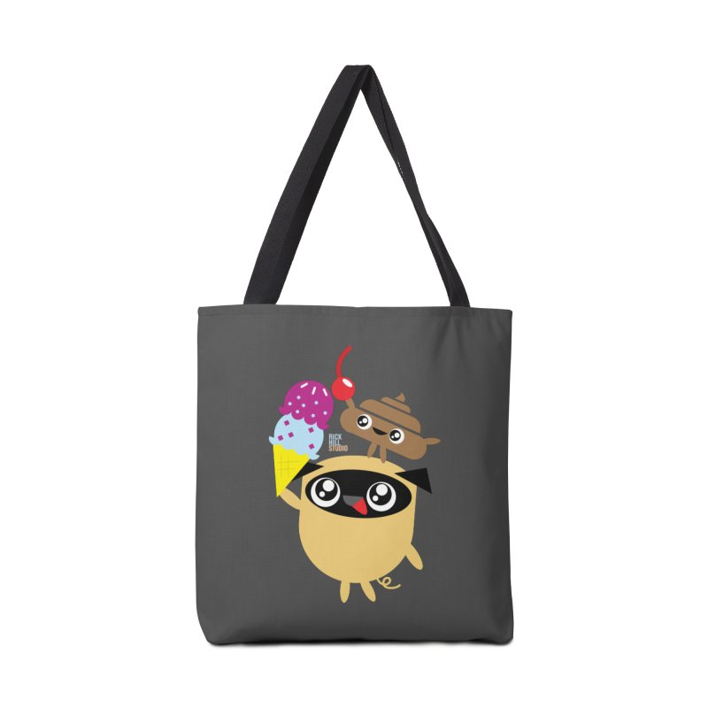 Pug & Poo Ice Cream Deamin' Accessories Tote Bag Bag by Rick Hill Studio's Artist Shop