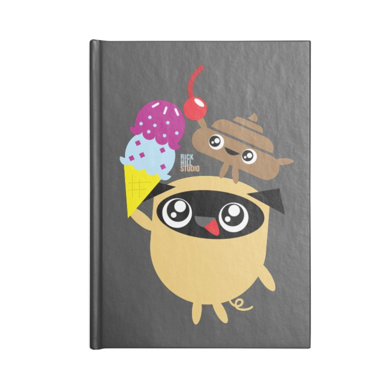 Pug & Poo Ice Cream Deamin' Accessories Notebook by Rick Hill Studio's Artist Shop