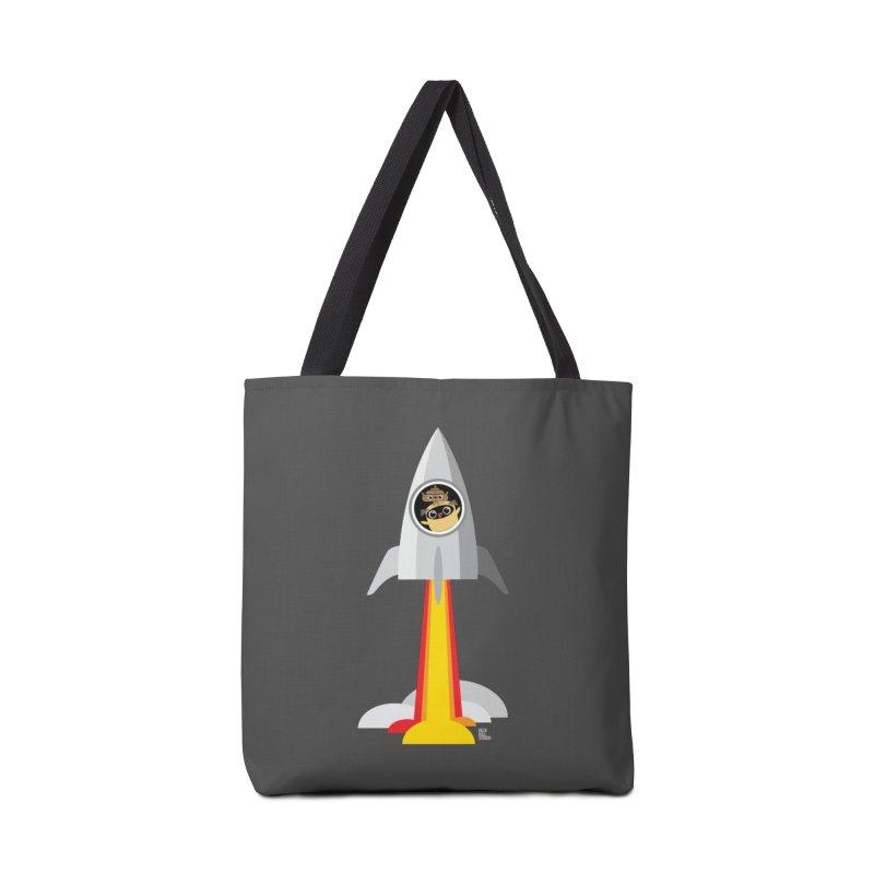Pug & Poo Rocket Accessories Tote Bag Bag by Rick Hill Studio's Artist Shop