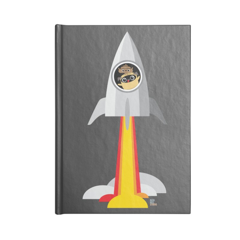 Pug & Poo Rocket Accessories Notebook by Rick Hill Studio's Artist Shop