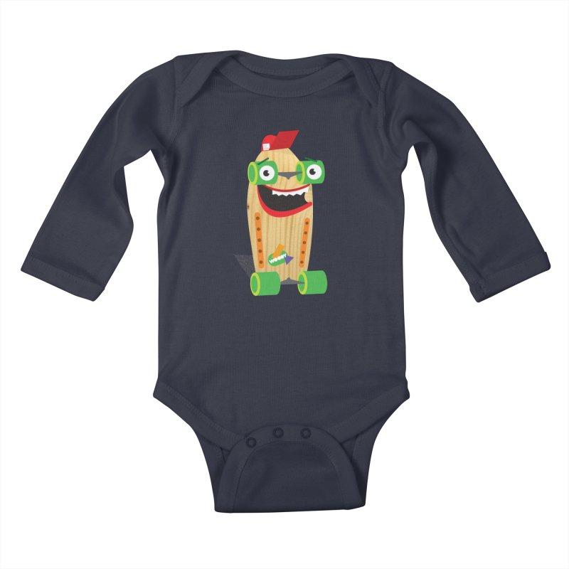 "Woody ""Good Time"" Wheels Kids Baby Longsleeve Bodysuit by Rick Hill Studio's Artist Shop"