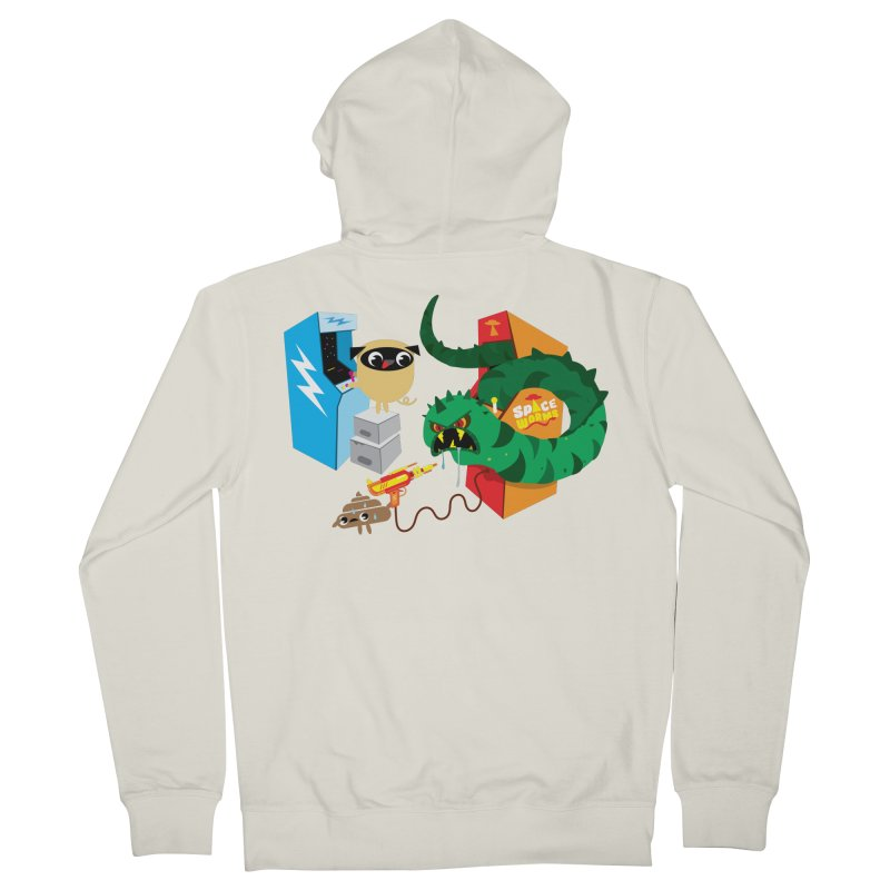 Pug & Poo Space Worms Women's French Terry Zip-Up Hoody by Rick Hill Studio's Artist Shop