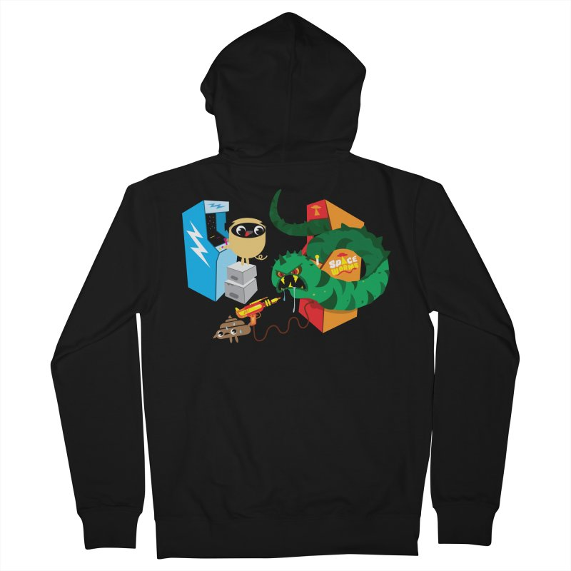 Pug & Poo Space Worms Men's Zip-Up Hoody by Rick Hill Studio's Artist Shop