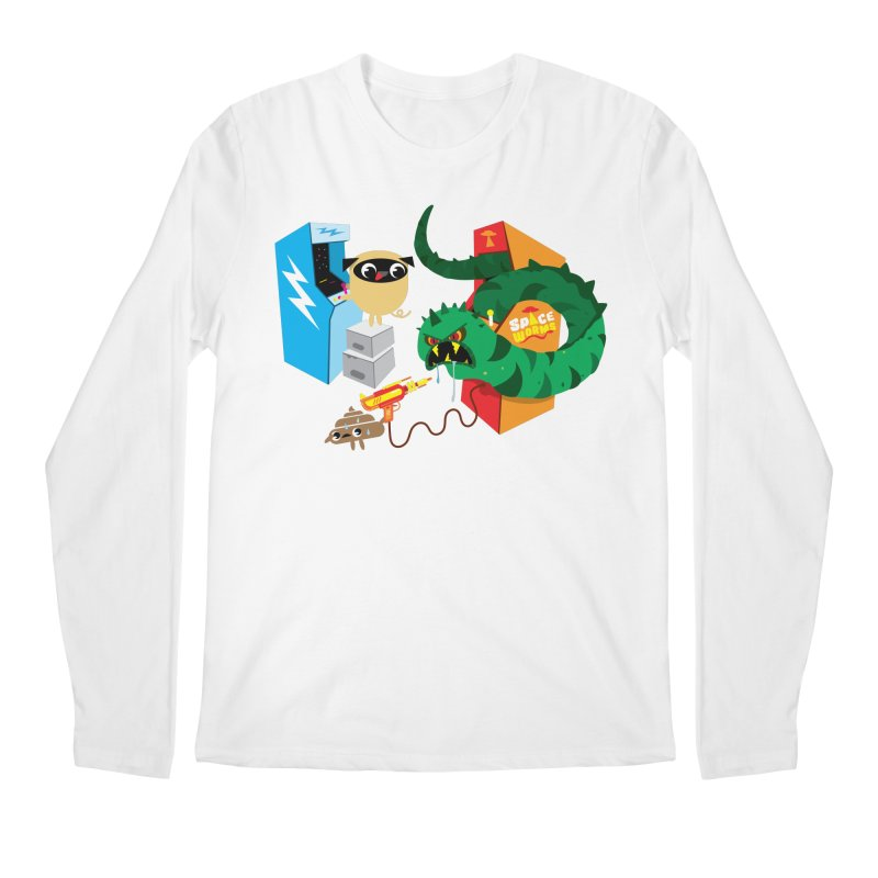Pug & Poo Space Worms Men's Regular Longsleeve T-Shirt by Rick Hill Studio's Artist Shop