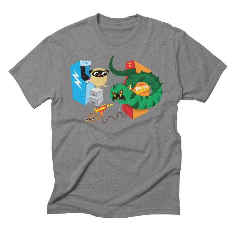 Pug & Poo Space Worms Men's Triblend T-Shirt by Rick Hill Studio's Artist Shop