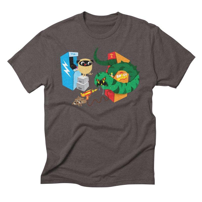 Pug & Poo Space Worms Men's Triblend T-Shirt by Rick Hill Studio's Artist Shop