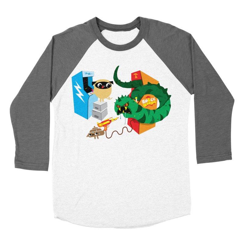 Pug & Poo Space Worms Women's Baseball Triblend T-Shirt by Rick Hill Studio's Artist Shop