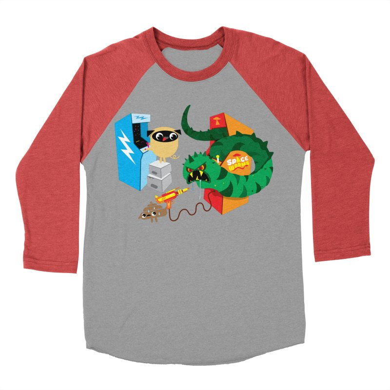 Pug & Poo Space Worms Men's Baseball Triblend Longsleeve T-Shirt by Rick Hill Studio's Artist Shop
