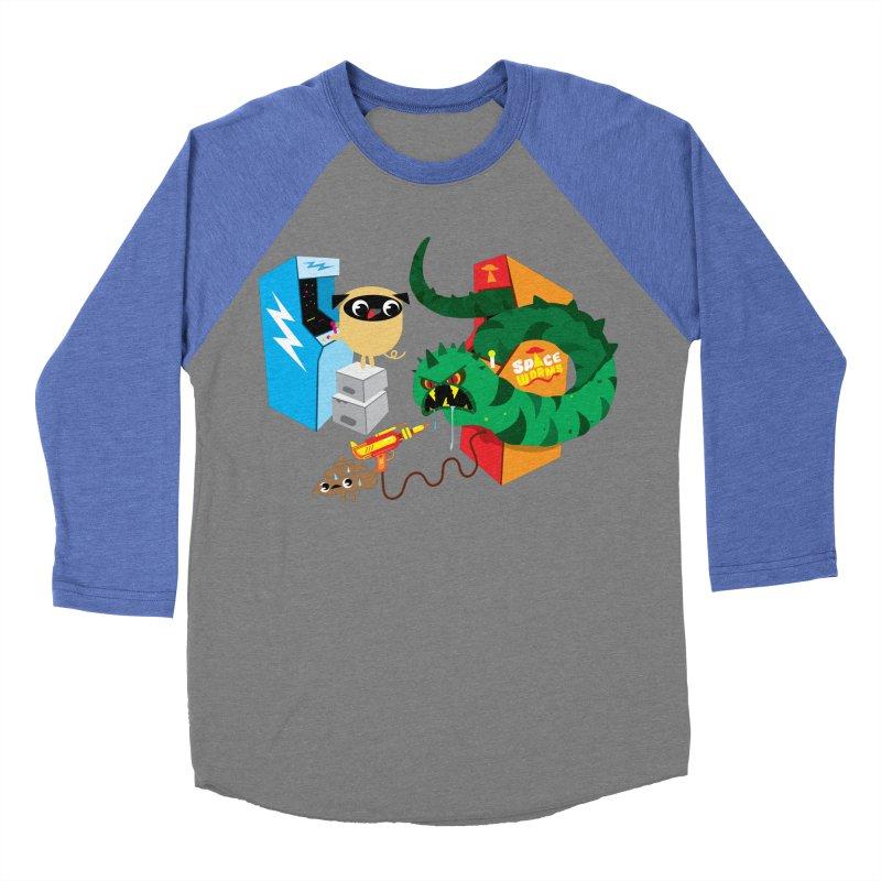 Pug & Poo Space Worms Men's Baseball Triblend T-Shirt by Rick Hill Studio's Artist Shop