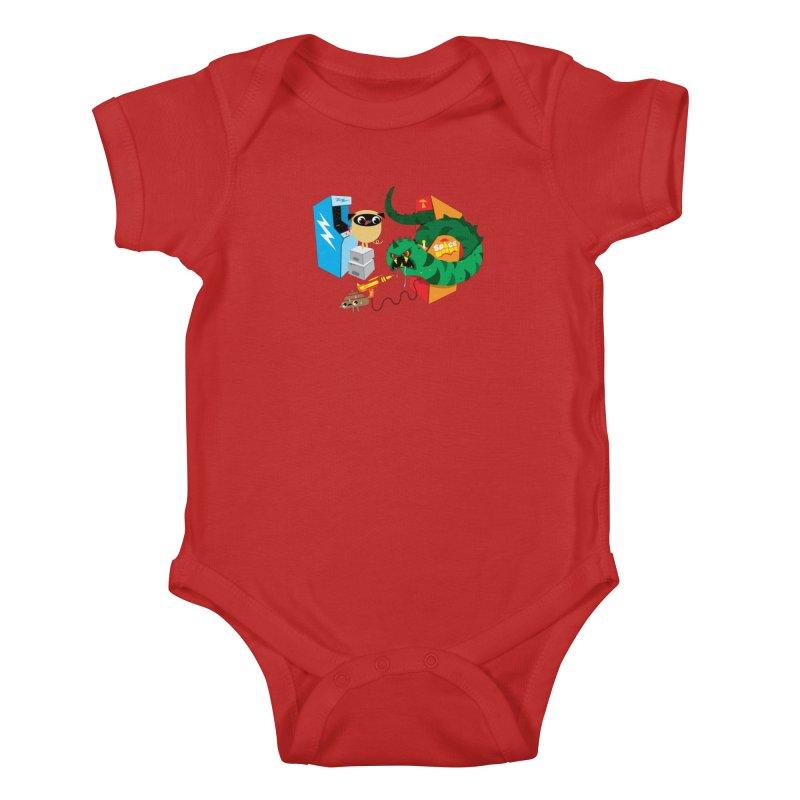 Pug & Poo Space Worms Kids Baby Bodysuit by Rick Hill Studio's Artist Shop