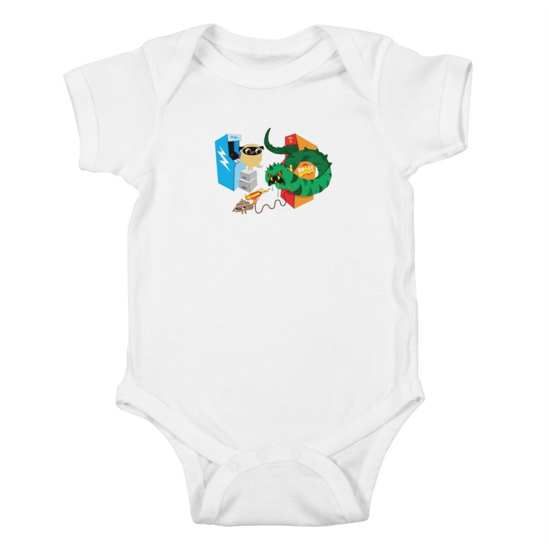 Pug & Poo Space Worms Kids Baby Bodysuit by Rick Hill Studio's Artist Shop