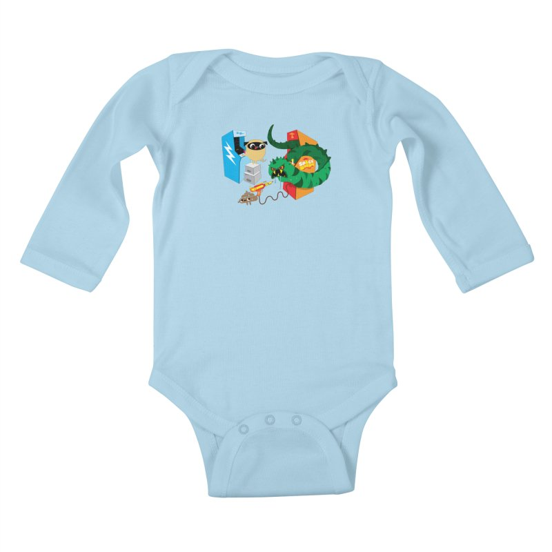 Pug & Poo Space Worms Kids Baby Longsleeve Bodysuit by Rick Hill Studio's Artist Shop