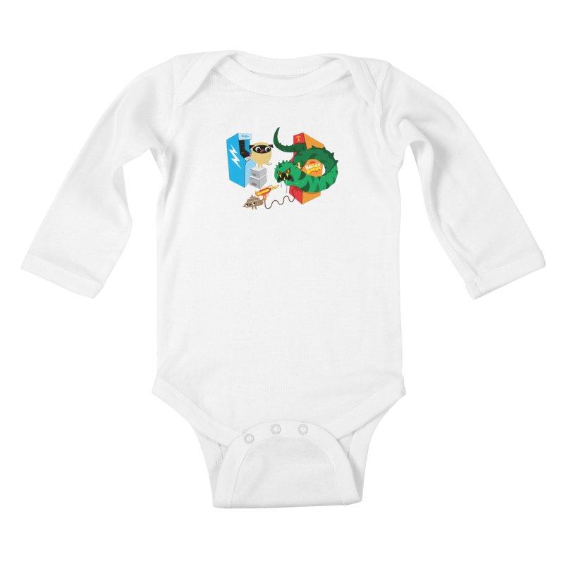 Pug & Poo Space Worms Kids Baby Longsleeve Bodysuit by Rick Hill Studio's Artist Shop