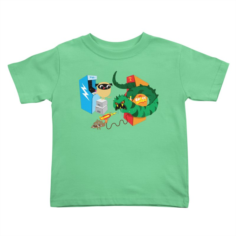 Pug & Poo Space Worms Kids Toddler T-Shirt by Rick Hill Studio's Artist Shop
