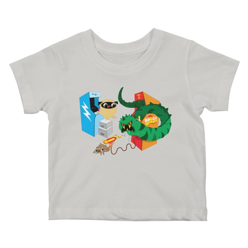 Pug & Poo Space Worms Kids Baby T-Shirt by Rick Hill Studio's Artist Shop