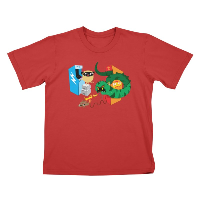Pug & Poo Space Worms Kids T-Shirt by Rick Hill Studio's Artist Shop