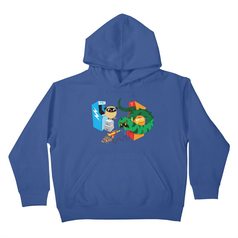 Pug & Poo Space Worms Kids Pullover Hoody by Rick Hill Studio's Artist Shop