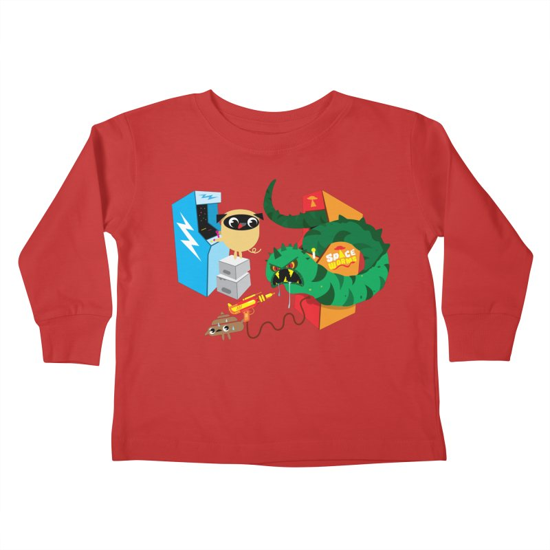 Pug & Poo Space Worms Kids Toddler Longsleeve T-Shirt by Rick Hill Studio's Artist Shop