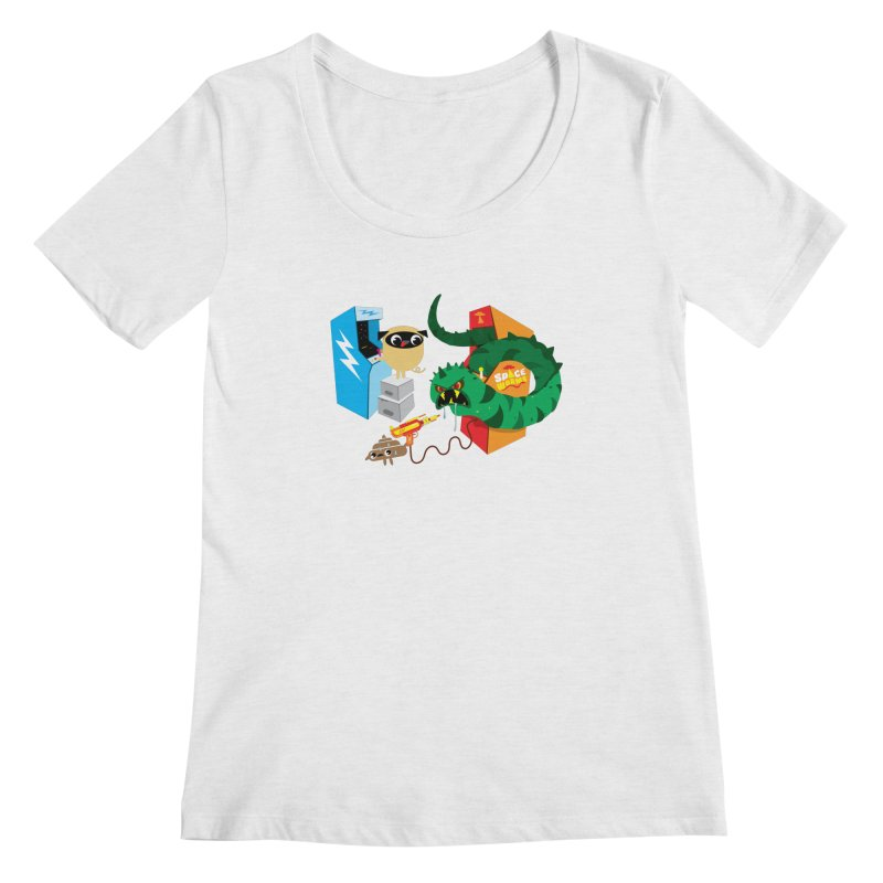 Pug & Poo Space Worms Women's Scoopneck by Rick Hill Studio's Artist Shop
