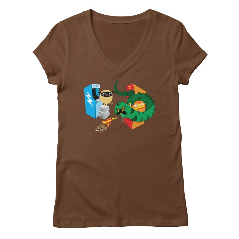 Pug & Poo Space Worms Women's V-Neck by Rick Hill Studio's Artist Shop