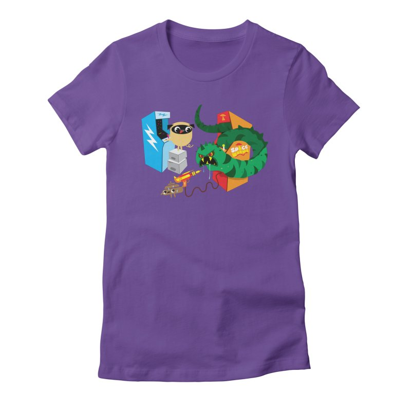 Pug & Poo Space Worms Women's Fitted T-Shirt by Rick Hill Studio's Artist Shop