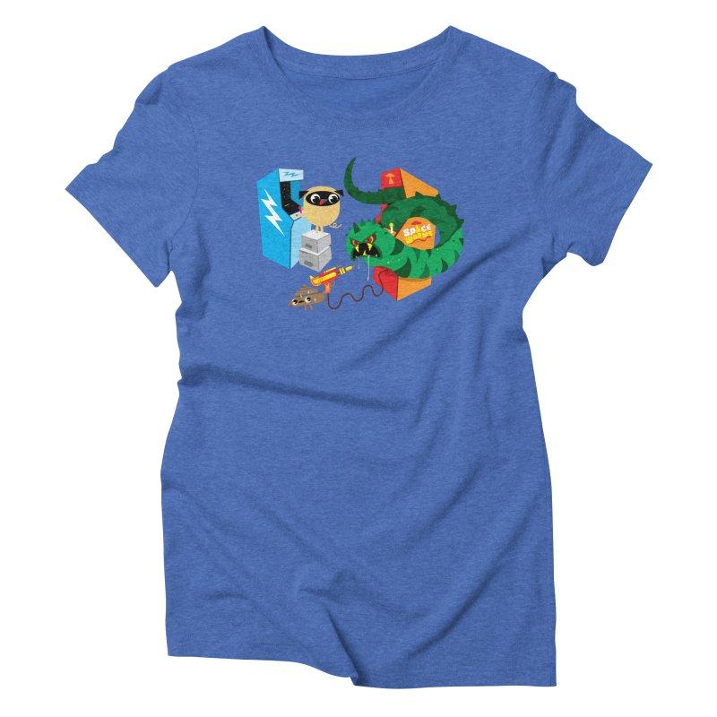 Pug & Poo Space Worms Women's Triblend T-Shirt by Rick Hill Studio's Artist Shop