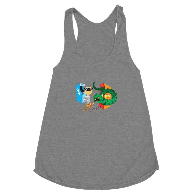 Pug & Poo Space Worms Women's Racerback Triblend Tank by Rick Hill Studio's Artist Shop