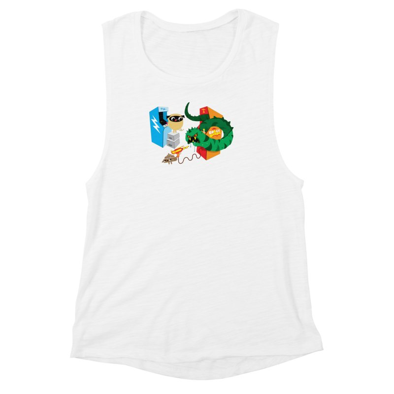 Pug & Poo Space Worms Women's Muscle Tank by Rick Hill Studio's Artist Shop