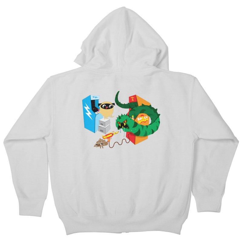 Pug & Poo Space Worms Kids Zip-Up Hoody by Rick Hill Studio's Artist Shop