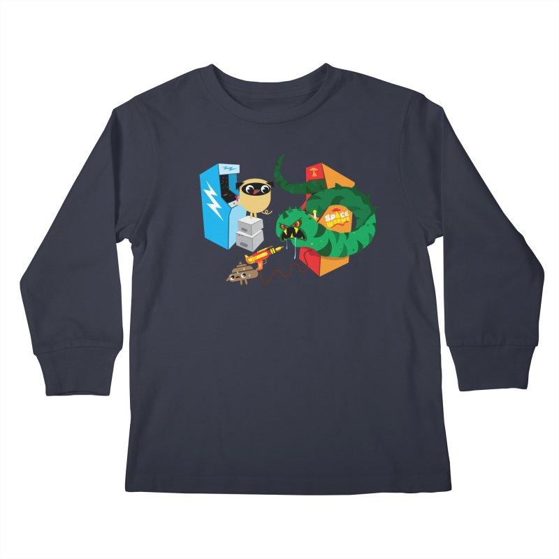Pug & Poo Space Worms Kids Longsleeve T-Shirt by Rick Hill Studio's Artist Shop